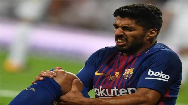 Luis Suárez se recupera de una lesión en el Barcelona