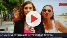 Vídeo: Mulher invade um link ao vivo e fala 'Globo lixo' durante uma reportagem.