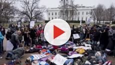 Students stage a protest outside White House after school shooting