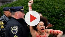 A nude female protested on the day of Bill Cosby's retrial