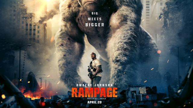 'Rampage' Dwayne Johnson apenas sube las listas de éxitos cinematográficos