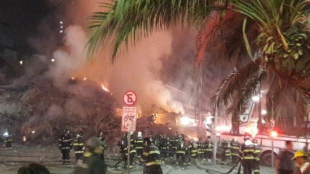 Tragédia: prédio desaba durante incêndio no largo do Paissandu, centro de SP