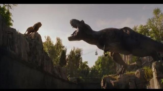 Rexy se encuentra con un león en Jurassic World 2