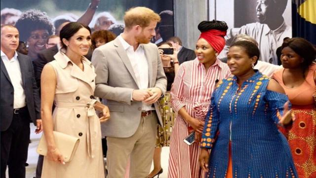Prince Harry and Meghan met Nelson Mandela's granddaughter at exhibit in London