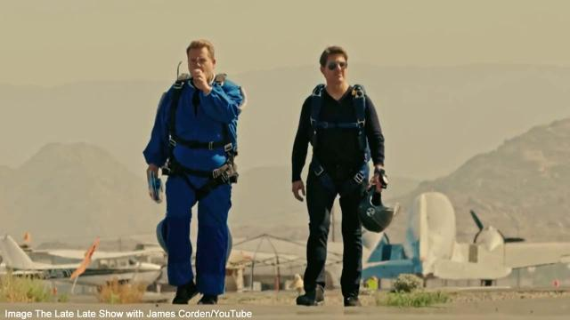 Tom Cruise takes James Corden skydiving over Perris Valley, California