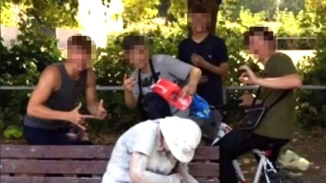 Disabled woman covered in flour and eggs by four teenagers for Snapchat shot