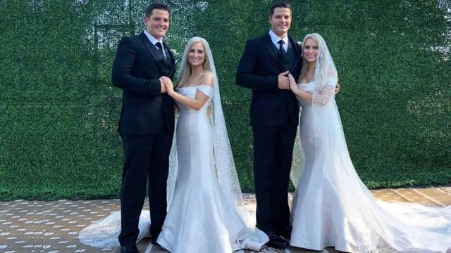 Identical twin sisters marry identical twin brothers in Twinsburg, Ohio