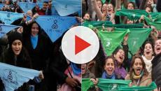 Jóvenes manifestando en las calles de Argentina a favor del aborto