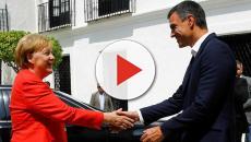 Pedro Sánchez y Angela Merkel reunidos para hablar sobre distintos temas