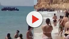 Turistas espantados flagram bote com 50 migrantes ilegais
