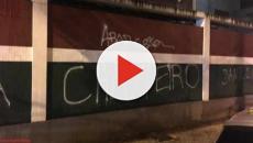 Torcida picha muros das Laranjeiras após empate do Flu no Maracanã