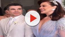 Claudia raia aposta em vestido com decote e fenda em casamento
