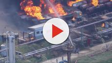 Incêndio na refinara de Manguinho deixa vários caminhões destruídos