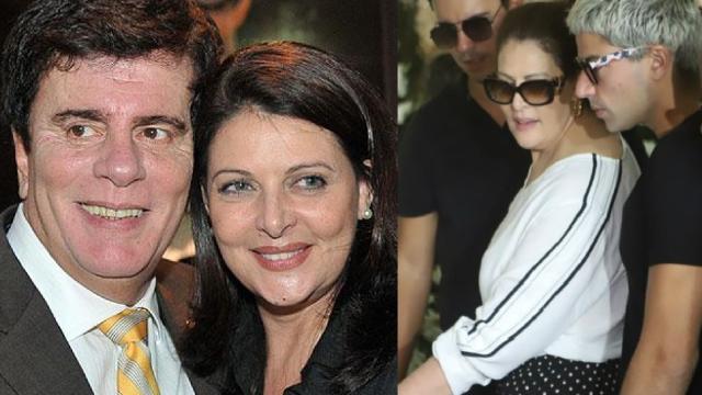 Sônia Lima é consolada após se emocionar no velório do marido Wagner Montes