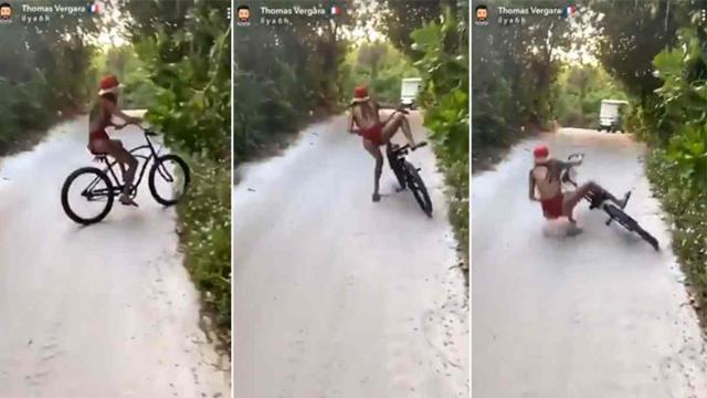 Nabilla Benattia tombe d'un vélo sans freins et amuse les internautes