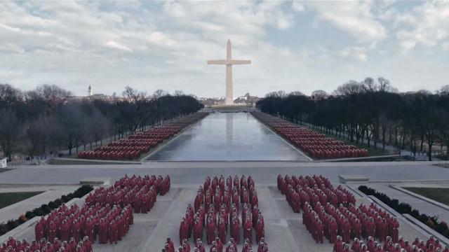 Twitter reveals images of the film set of The Handmaid's Tale in Washington, DC