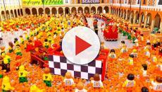 Carnevale: a Ivrea la 'Battaglia delle Arance' diventa arte con i mattoncini della Lego