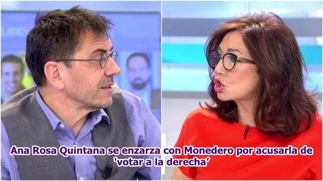 Monedero acusa a Ana Rosa Quintana de votar a la derecha y discuten