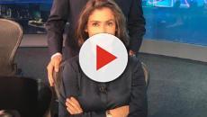 Renata Vasconcellos deixa blusa aberta durante Jornal Nacional