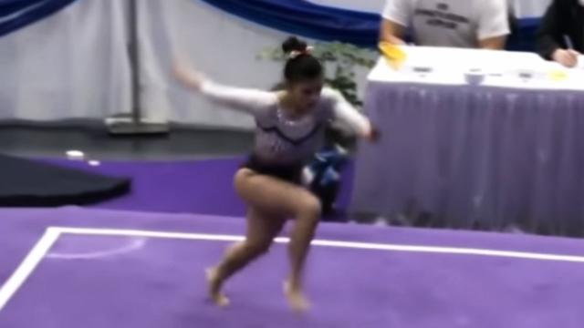 Vídeo mostra ginasta quebrando as duas pernas após queda em salto