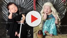 Bebês são fotografados em ensaio inspirado em 'Game of Thrones'