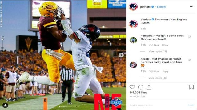 Patriots' star is plenty happy with team's first round pick
