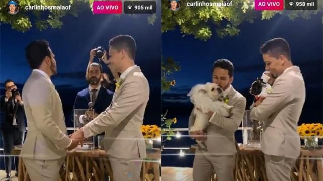 Casados, Carlinhos Maia e Lucas Guimarães oficializam união com cerimônia de luxo