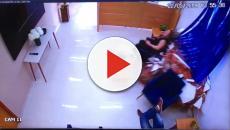 Mulher escapa sem ferimentos após ser atingida por carro que invadiu escritório
