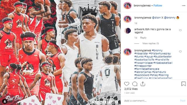Bronny James takes a bit of heat on Instagram