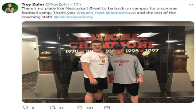 Nebraska football hosts Colorado offensive lineman Zuhn