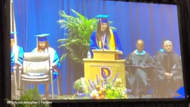 Emmett J Conrad High School valedictorian gets cut off in speech