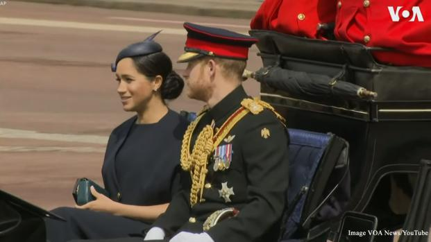 Queen Elizabeth II official birthday and Trooping of the Color attended by Meghan Markle