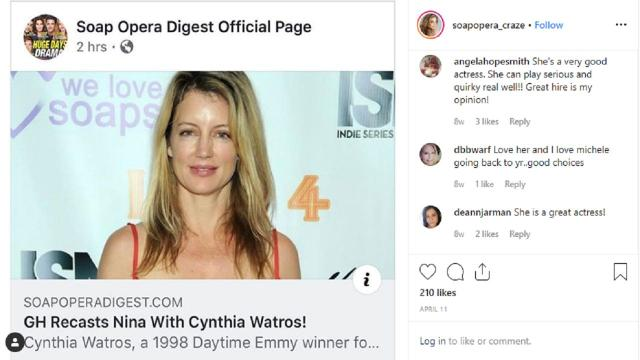 General Hospital is wecolming Cynthia Watros to the fold as Nina
