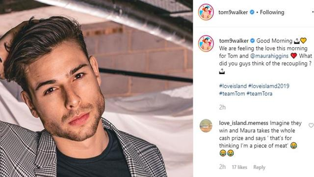 'Love Island': Tom Walker, Maura recouple, fans comment on his IG