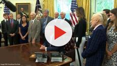 50th anniversary of moon landing: Donald Trump meets Buzz Aldrin and Michael Collins
