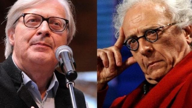 Stasera Italia: Mughini e Sgarbi si insultano in tv e arrivano quasi alle mani