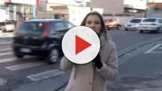 Repórter da Globo para transmissão ao vivo para devolver carteira de pedestre