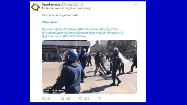 Zimbabwe: Reports of more violent clashes by police with protesters in Harare