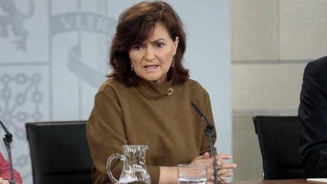 Carmen Calvo defiende la posición del Gobierno durante la ultima crisis del Open Arms