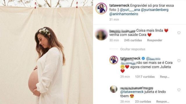 Tatá Werneck revela dúvida e nova opção de nome para a filha