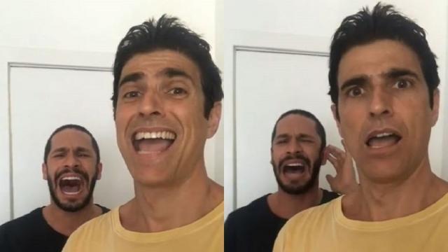 Reynaldo Gianecchini grava Rainer Cadete cantando e se choca com a voz do ator