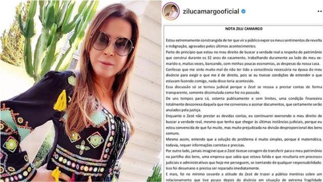 Zilu declara tristeza pelo apoio dos filhos a Zezé Di Camargo em briga judicial