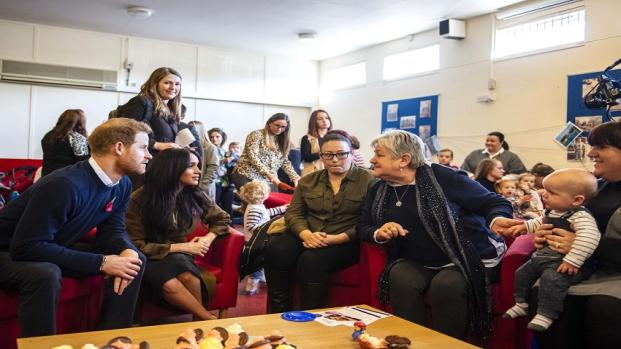 Meghan Markle and Prince Harry surprise military families over coffee