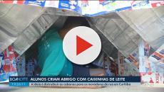 Estudantes de Curitiba produzem abrigos para moradores de rua usando caixas de leite