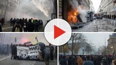 Francia, i manifestanti protestano contro il sistema pensionistico insieme ai gillet giall
