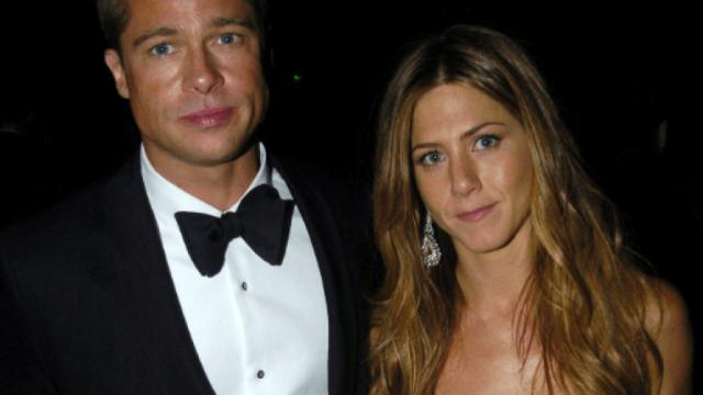 Hollywood stars Brad Pitt and Jennifer Aniston spend time together at holiday bash