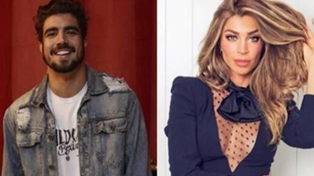 Caio Castro e Grazi Massafera trocam selinho em bastidores de gravação