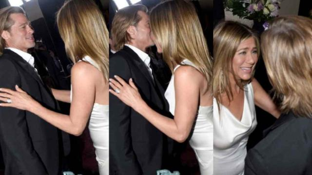 Brad Pitt e Jennifer Aniston, bacio dolcissimo ai Sag Awards