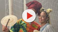 Na África, suposta barriga de 5 meses de Rafaella Santos chama atenção em foto