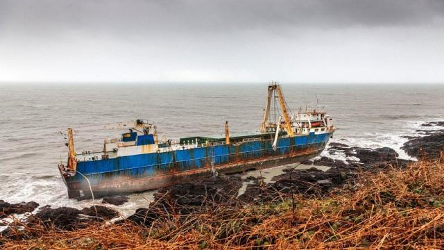 Storm Dennis swept a ghost ship to the coast of Ireland